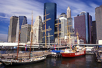 AJ1224, Manhattan, New York City, New York, N.Y.C., Skyline of Lower Manhattan and South Street Seaport Museum on the East River in New York City, New York.