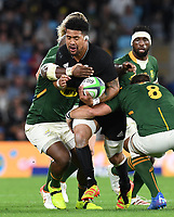 2nd October 2021, Cbus Super Stadium, Gold Coast, Queensland, Australia;   Ardie Savea runs into contact with Vermeulen. New Zealand All Blacks versus South Africa Springboks. The Rugby Championship. Rugby Union test match.
