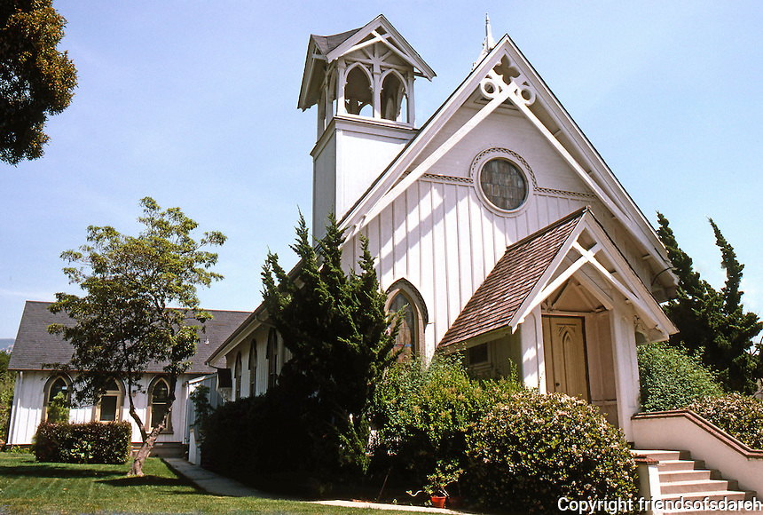 St. Mark's Episcopal Church, Santa Barbara CA. 1875.  2020 Chapala. The tall steeple now missing from the tower.