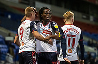 Bolton Wanderers' Eoin Doyle (left) celebrates scoring his side's first goal <br /> <br /> Photographer Andrew Kearns/CameraSport<br /> <br /> The EFL Sky Bet League Two - Bolton Wanderers v Salford City - Friday 13th November 2020 - University of Bolton Stadium - Bolton<br /> <br /> World Copyright © 2020 CameraSport. All rights reserved. 43 Linden Ave. Countesthorpe. Leicester. England. LE8 5PG - Tel: +44 (0) 116 277 4147 - admin@camerasport.com - www.camerasport.com