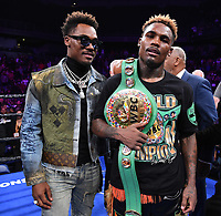 ONTARIO, CA - DECEMBER 21: Jermell Charlo and his brother Jermall Charlo after Jermell defeated Tony Harrison to take the WBC World Super Welterweight Championship on the Fox Sports PBC Fight Night at Toyota Arena on December 21, 2019 in Ontario, California. (Photo by Frank Micelotta/Fox Sports/PictureGroup)