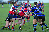 Action from the Manawatu women's rugby union match between Bush and Wanganui Metro at Bush Sports Complex in Pahiatua, New Zealand on Saturday, 11 July 2020. Photo: Dave Lintott / lintottphoto.co.nz