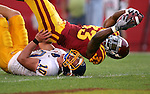 Iowa State running back Alexander Robinson (33) reaches for the goal line over South Dakota State's Brock Campbell (10) on a first quarter run August 28, 2008 at Jack Trice Stadium in Ames, Iowa. He was ruled down at the one yard line and ISU scored on the next play.