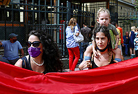 Pictured: Women protest against the killing of Caroline Crouch outside court in Athens, Greece. Tuesday 22 June 2021<br /> Re: Charalambos (Babis) Anagnostopoulos, the husband of Caroline Crouch, who was killed in front of her 11 month old daughter is due to appear before a Magistrate, after being charged with her murder at their home in Glyka Nera, near Athens, Greece.<br /> The woman, 20, was allegedly first tortured and then strangled to death.