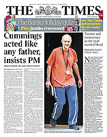 The Times newspaper Front page reporting on Prime Minister's TV Address to the Nation. May 25th 2020