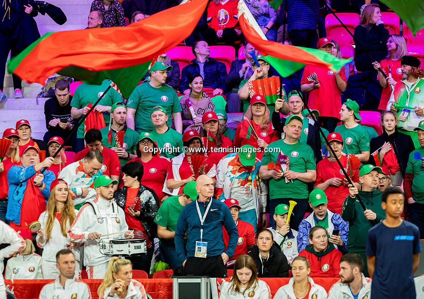 The Hague, The Netherlands, Februari 7, 2020,    Sportcampus, FedCup  Netherlands -  Balarus, Seccond match on friday:  Balarus supporters<br /> Photo: Tennisimages/Henk Koster