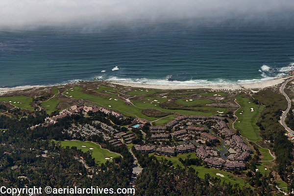 aerial photograph of The Links at Spanish Bay and Inn at Spanish Bay, Pebble Beach, Monterey County, California