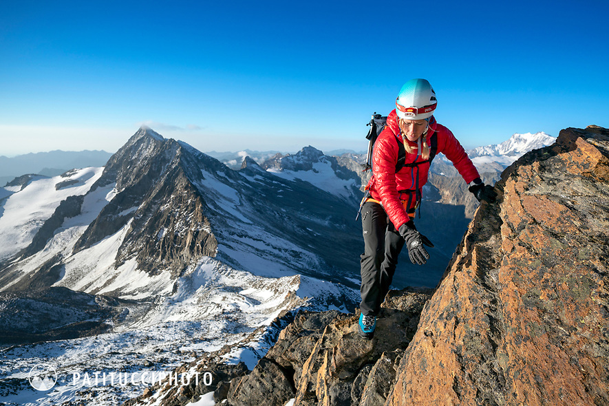 Climbing the south ridge of the 4000 meter Weissmies, Switzerland