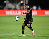 LAKE BUENA VISTA, FL - JULY 18: Eddie Segura #4 of LAFC settles a ball during a game between Los Angeles Galaxy and Los Angeles FC at ESPN Wide World of Sports on July 18, 2020 in Lake Buena Vista, Florida.