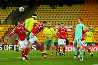 2nd January 2021; Carrow Road, Norwich, Norfolk, England, English Football League Championship Football, Norwich versus Barnsley; Grant Hanley of Norwich City miss times a header on goal