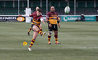 Russell Bennett of Ampthill RUFC scores from the penalty conversion during the Greene King IPA Championship match between Ealing Trailfinders and Ampthill RUFC being played behind closed doors due to the COVID-19 pandemic restrictions at Castle Bar , West Ealing , England  on 13 March 2021. Photo by Alan Stanford / PRiME Media Images