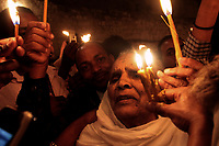 Members of the Orthodox Ethiopian Church take part in the Saturday of Lights ceremony in the roof of the Holy Sepulcher, April, 2014.