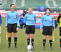 France U19 - Belgium U19 :  Christina Jaworek , .Rhona Daly (IRL)  and Michelle O'Neill (IRL),.foto DAVID CATRY / Nikonpro.be