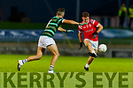 David Griffin, St. Brendan's Board in action against Dan O'Donoghue (Captain), East Kerry during the Kerry County Senior Football Championship Semi-Final match between East Kerry and St Brendan's at Austin Stack Park in Tralee, Kerry.