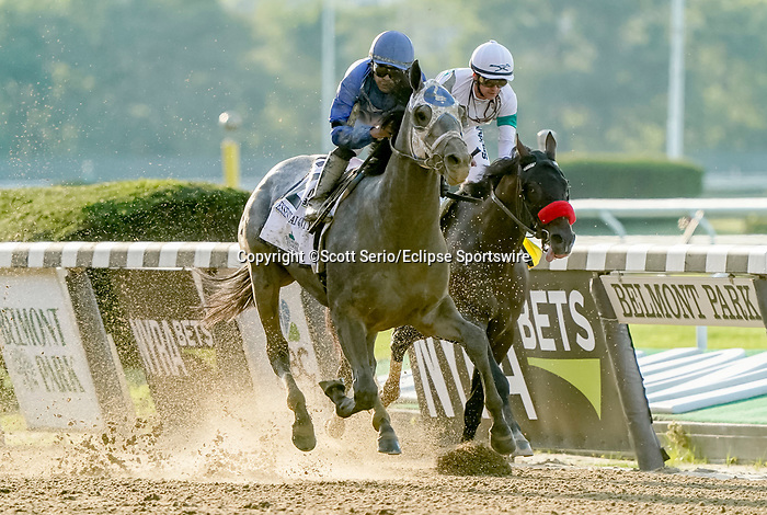 June 5, 2021: Essential Quality #2, ridden by Luis Saez, wins the Belmont Stakes on Belmont Stakes Day at Belmont Park in Elmont, New York. Scott Serio/Eclipse Sportswire/CSM