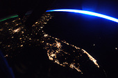 This nighttime photo of Florida was taken from the International Space Station by Expedition 51 Flight Engineer Thomas Pesquet of the European Space Agency, in March 2017. Bright lights of cities stand out, including the Miami-Fort Lauderdale metropolitan area, the Tampa Bay region along the Gulf Coast, and in the middle, Orlando.  Visible on Florida's Atlantic coast is the Cape Canaveral area where, currently, launch preparations are underway at NASA's Kennedy Space Center for the eleventh SpaceX cargo resupply mission to the International Space Station, targeted for liftoff at 5:55 p.m. EDT on Thursday, June 1, from Launch Complex 39A.<br /> Credit: ESA/NASA
