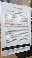 Pictured: The Moorfields administration notice outside the Toys R Us store in Swansea, Wales, UK. Wednesday 28 February 2018<br /> Re: Toys R Us have announced that they are in administration by Moorfields.