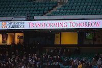 Cambridge University signage during the 131st Varsity Match between Oxford University and Cambridge University at Twickenham on Thursday 06 December 2012 (Photo by Rob Munro)