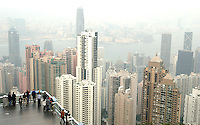 Overview of Hong Kong from the Peak Tower on the Peak in a foggy day, Hong Kong..