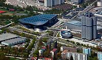 aerial photograph of BMW headquarters, Munich, Bavaria, Germany | Luftbild BMW Hauptverwaltungsgebäude, München