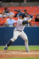 Lynchburg Hillcats left fielder Mitch Longo (10) at bat during the second game of a doubleheader against the Frederick Keys on June 12, 2018 at Nymeo Field at Harry Grove Stadium in Frederick, Maryland.  Frederick defeated Lynchburg 8-1.  (Mike Janes/Four Seam Images)