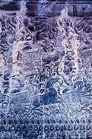 Cambodia, Angkor Wat.  Bas-relief Showing the Kaurava Army Advancing into the Battle of Kurukshetra.