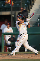Jeremy Martinez (2) of the Southern California Trojans bats during a game against the Oakland Grizzlies at Dedeaux Field on February 21, 2015 in Los Angeles, California. Southern California defeated Oakland, 11-1. (Larry Goren/Four Seam Images)