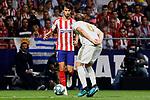 Joao Felix of Atletico de Madrid and Nacho Fernandez of Real Madrid during La Liga match between Atletico de Madrid and Real Madrid at Wanda Metropolitano Stadium{ in Madrid, Spain. {iptcmonthname} 28, 2019. (ALTERPHOTOS/A. Perez Meca)