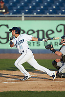 Cristian Perez (11) of the Wilmington Blue Rocks follows through on his swing against the Fayetteville Woodpeckers of the Wilmington Blue Rocks at bat against the Fayetteville Woodpeckers at Frawley Stadium on June 6, 2019 in Wilmington, Delaware. The Woodpeckers defeated the Blue Rocks 8-1. (Brian Westerholt/Four Seam Images)