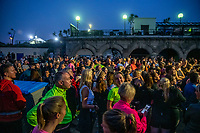 BNPS.co.uk (01202 558833)<br /> Pic: MaxWillcock/BNPS<br /> <br /> Pictured: A large crowd gathers before the run.<br /> <br /> Hundreds of runners responded to an Instagram invitation to join the nation's favourite PE teacher Joe Wicks on an early morning 5km run from Bournemouth Pier to Boscombe Pier and back.<br /> <br /> Avid fans of The Body Coach had to wake up at the crack of dawn to meet Joe Wicks at 7am for the run down the promenade.