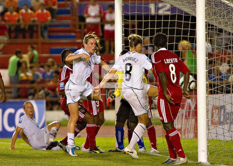 Action photo of Amy Rodriguez of United States. The US Women's National Team defeated Haiti 5-0 during the CONCACAF Women's World Cup Qualifying tournament at Estadio Quintana Roo in Cancun, Mexico on October 28th, 2010.