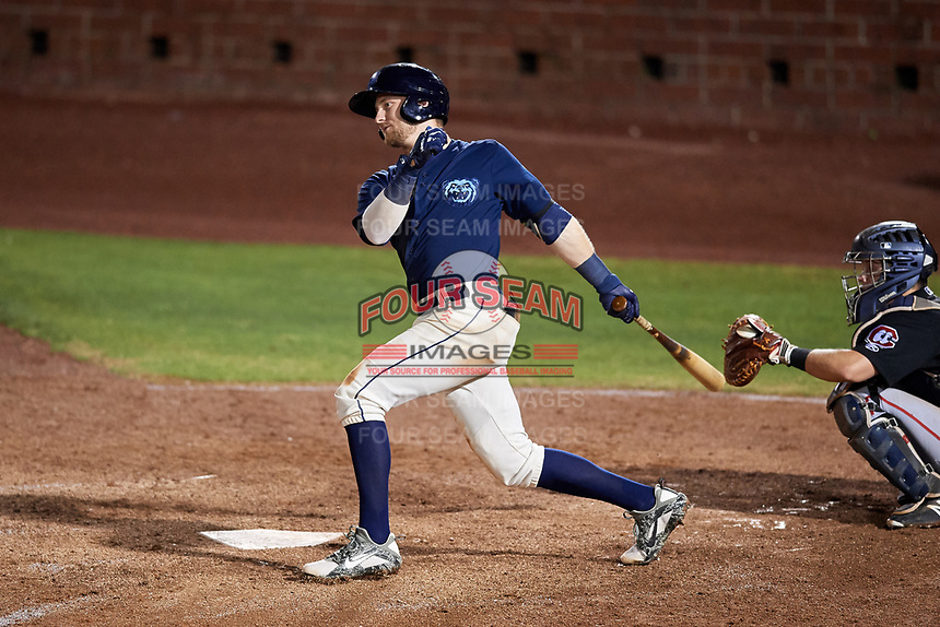 Mobile BayBears third baseman Taylor Ward (7) follows through on a swing during a game against the Chattanooga Lookouts on May 5, 2018 at Hank Aaron Stadium in Mobile, Alabama.  Chattanooga defeated Mobile 11-5.  (Mike Janes/Four Seam Images)