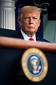 United States President Donald J. Trump listens during a news conference in the Brady Press Briefing Room of the White House in Washington, DC on Wednesday, September 16, 2020. <br /> Credit: Al Drago / Pool via CNP