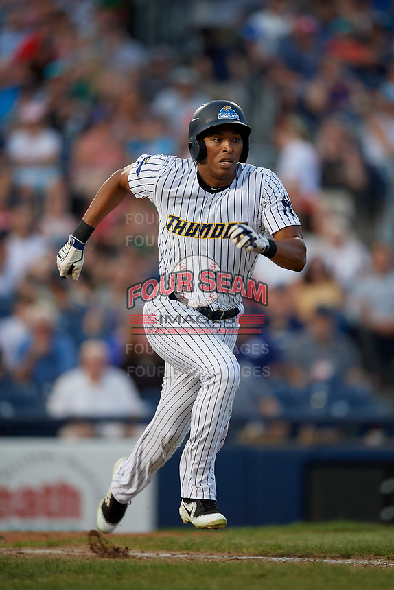 Trenton Thunder Rashad Crawford (17) runs to first base during an Eastern League game against the New Hampshire Fisher Cats on August 20, 2019 at Arm & Hammer Park in Trenton, New Jersey.  New Hampshire defeated Trenton 7-2.  (Mike Janes/Four Seam Images)