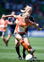 MELBOURNE, AUSTRALIA - DECEMBER 4: Tameka Butt of Brisbane Roar protects the ball in round 5 of the Westfield W-league match between Melbourne Victory and Brisbane Roar on 4 December 2010 at AAMI Park in Melbourne, Australia. (Photo Sydney Low / asteriskimages.com)