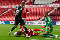 Dael Fry of Middlesbrough under pressure from Bersant Celina of Swansea City during the Sky Bet Championship match between Middlesbrough and Swansea City at The Riverside Stadium on June 20, 2020 in Middlesbrough, England, UK.  Saturday 20th June 2020