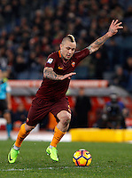 Calcio, Serie A: Roma vs Fiorentina. Roma, stadio Olimpico, 7 febbraio 2017.<br /> Roma's Radja Nainggolan kicks the ball during the Italian Serie A soccer match between Roma and Fiorentina at Rome's Olympic stadium, 7 February 2017.<br /> UPDATE IMAGES PRESS/Riccardo De Luca