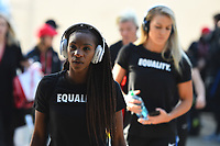 San Diego, CA - Sunday January 21, 2018: Crystal Dunn prior to an international friendly between the women's national teams of the United States (USA) and Denmark (DEN) at SDCCU Stadium.