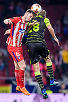 Saul Niguez Esclapez of Atletico de Madrid (L) fights for the ball with Bas Dost of Sporting CP (R) during the UEFA Europa League quarter final leg one match between Atletico Madrid and Sporting CP at Wanda Metropolitano on April 5, 2018 in Madrid, Spain. Photo by Diego Souto / Power Sport Images