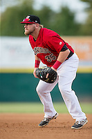 Hickory Crawdads first baseman Jonathan Meyer (35) on defense against the West Virginia Power at L.P. Frans Stadium on August 15, 2015 in Hickory, North Carolina.  The Power defeated the Crawdads 9-0.  (Brian Westerholt/Four Seam Images)