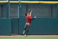 Left fielder Reece Holdbrock (2) of Hammond School in Mt. Pleasant, SC playing for the Arizona Diamondbacks scout team tracks a fly ball during the East Coast Pro Showcase at the Hoover Met Complex on August 2, 2020 in Hoover, AL. (Brian Westerholt/Four Seam Images)