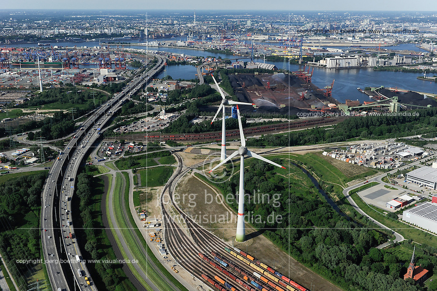 DEUTSCHLAND Hamburg Hafen, zwei Windraeder Enercon E-126 mit je 6 MW  in Altenwerder /<br /> GERMANY Hamburg Altenwerder, 6 MW Enercon E-126 windmill infront of harbour