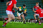 Oisín Maunsell, Kerry in action against Fergal Walsh, Cork during the Munster Minor Semi-Final between Kerry and Cork in Austin Stack Park on Tuesday evening.