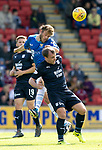St Johnstone v Dundee…25.08.18…   McDiarmid Park     SPFL<br />Murray Davidson gets above Paul McGowan<br />Picture by Graeme Hart. <br />Copyright Perthshire Picture Agency<br />Tel: 01738 623350  Mobile: 07990 594431