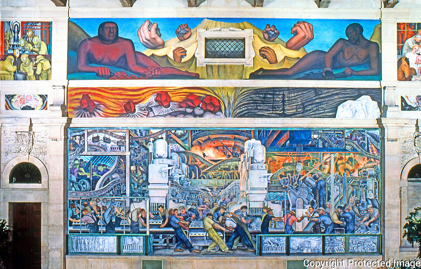 Detroit:   Detroit Industry, North Wall 1932-33. Diego M. Rivera 1886-1957.  Reference only.