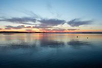 Sunset at Asharoken Beach, Long Island, New York.