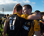Ballyea players Niall Deasy and David Sheehan celebrate following the county senior hurling final against Cratloe at Cusack Park. Photograph by John Kelly.