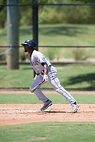AZL Padres 2 center fielder Hunter Jarmon (24) starts down the first base line during an Arizona League game against the AZL Dodgers at Camelback Ranch on July 4, 2018 in Glendale, Arizona. The AZL Dodgers defeated the AZL Padres 2 9-8. (Zachary Lucy/Four Seam Images)