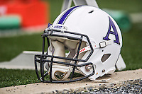 8 October 2016: An Amherst College Purple & White Football Helmet lies on the sidelines during a game against the Middlebury College Panthers at Alumni Stadium in Middlebury, Vermont. The Panthers edged out the Purple & While 27-26. Mandatory Credit: Ed Wolfstein Photo *** RAW (NEF) Image File Available ***