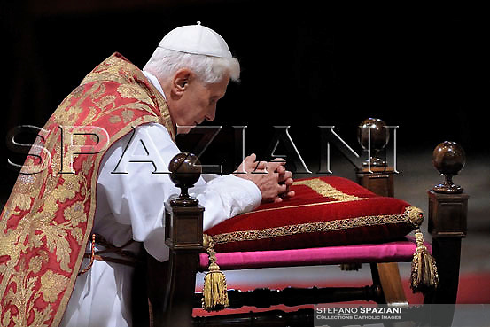Pope Benedict XVI  the ceremony of the Good Friday Passion of the Lord Mass in Saint Peter's Basilica at the Vatican. March 21,2008.